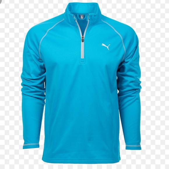 Puma Tee box 1 4 Zip Atomic Blue Pullover Top L de2e1a146